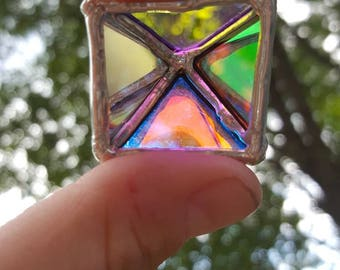 Dichroic Glass Triangle Pendant