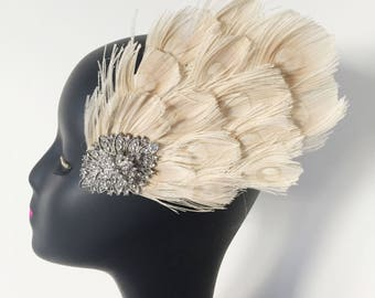 Feather 20s Flapper Rhinestone Headband Head Dress Bridal Hair Wedding