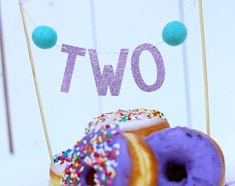 Mermaid Birthday Cake Topper...Cake Topper Birthday...TWO Cake Topper...2nd Birthday Cake Topper...Donut Birthday Party...Party Decorations
