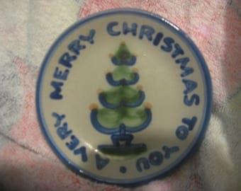 "M A HADLEY Merry Christmas Coaster 4 1/8"""