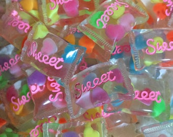 Cute kawaii candy cabochons, Sweet Cabochons, Wrapped Clear Candy Cabocons, Kawaii Cabochons, Decoden Supplies, Kawaii Sweets, Candy pieces