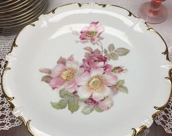 Wild Rose Porcelain Cake Stand, Bavarian Pedestal Cake Plate, Vintage 1950's, Heavy Gold Trim, White with Pink Roses,  Vintage Cake Plates