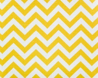 Drapery Fabric, Upholstery Fabric, Slip Cover Fabric, Modern Chevron Fabric, Yellow/White Zig Zag Fabric, Decorative Fabric By Half Yard'