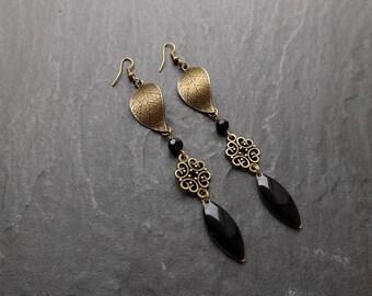 """long earrings """"Ella"""" Crystal navette enameled"""