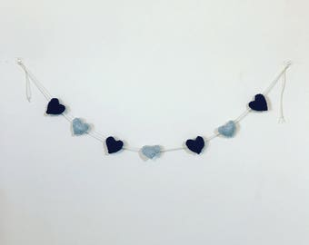 Knitted Ravenclaw Heart Bunting