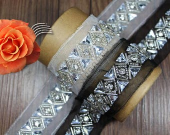 imitation diamond Beading Lace Trim white gauze  for wedding dress Bags Collars Pockets Headwears  - 90cm (4.5cm Width) YSFL37