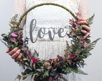 Custom Floral Hoop Wreath - rustic wedding bouquet - artificial door wreath - boho wedding decorations