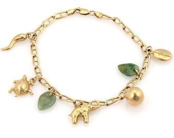 14171 - Vintage 14k Yellow Gold Jadeite & Assorated Seven Charms Bracelet