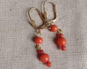 1980's coral earrings for pierced ears.
