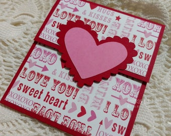 Valentines Gift Card Holder Valentine for Her Red Pink Valentine Card Handmade  Love Money Holder Gift Card Holder Optional Envelope