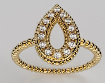14K Gold Ring in vintage pear style and 14 diamond 1 mm. 0.14 TW
