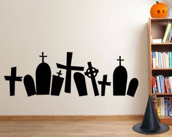 Halloween Grave Yard Spooky Party Creepy Window Wall Stickers Decorations A119