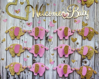 Pink and Gold Baby Shower Elephant Table Decor - Elephant Baby Shower -  Elephant Confetti - Paper Elephant - Elephant Shower