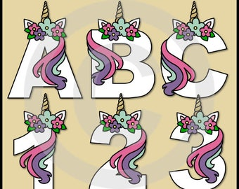 Unicorn Alphabet Letters & Numbers Clip Art Graphics