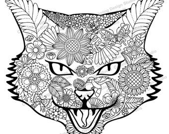 Coloring page face Etsy