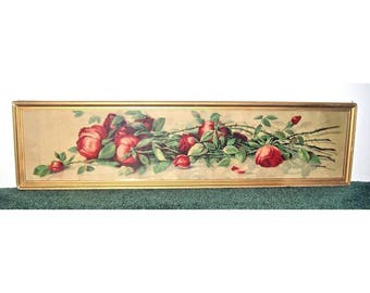 J. Califano American Red Roses Yard Long Framed Signed Antique Victorian Lithograph Print
