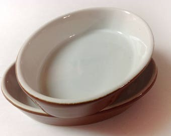2 HF Coors Au Gratin, Small Casserole Dishes, Brown, White, Vintage Restaurant Ware, Diner China Baking, Servingn Dishes