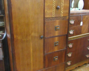 Art Deco Waterfall Chifferobe with drawers and hanging space
