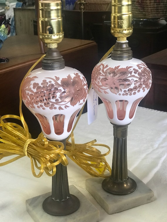 Pink glass lamps 1920's cameo glass
