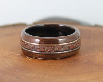 Wooden Ring with Dinosaur Bone and Guitar Strings Bentwood Rings Dinosaur Bone Ring Guitar String Ring Fretboard Ring Mens Wood Ring