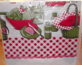 c-vintage plastic reversible vinyl tablecloth