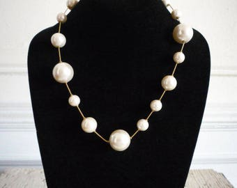 Vintage Anne Klein Chunky Bold Faux White Pearl Gold Tone Necklace