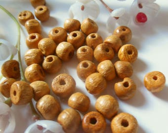 set of 40 round natural wooden beads