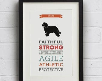 SALE 20% OFF Briard Dog Breed Traits Print