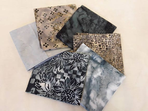 Batik Fabric Bundle of 6 Half Yards Hand Cut in Calamity Quilter's Studio. Taupe, Grey, Blue, Black, Swirls, Squares, Flowers and Leaves