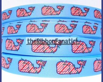 "5 yds  5/8"" or 7/8"" Christmas Whale Peppermint Stripes Lights Preppy Nautical Grosgrain Ribbon"