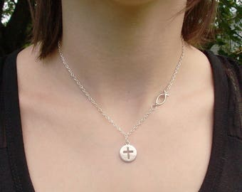 Cross and Ichthys Charm Necklace - Side Charm Necklace - Religious/Spiritual Jewelry - Christian Jewelry - Confirmation Gift