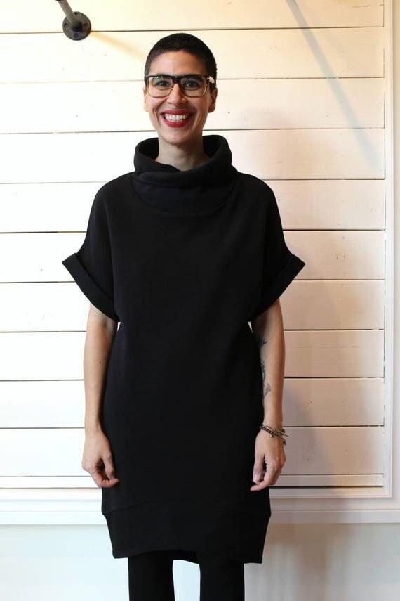 DRESS 2016 - short sleeve knit dress with hight collar for women - black
