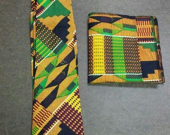 African Kente Print Tie Set