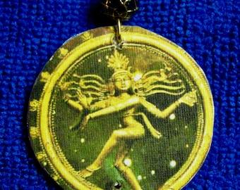 Recycled Nataraj Bottle cap necklace, Upcycled  Shiva Nataraj bottle cap necklace, Eco Friendly Shiva Bottle cap necklace