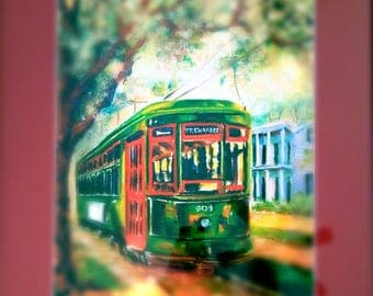 New Orleans St Charles Streetcar - Poster matted 14x18
