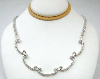 Elegant Otis Sterling Silver Rhinestone Necklace
