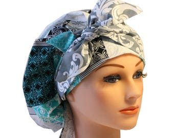 Scrub Cap Surgical Medical Chemo Chef Vet Nurse Hat Banded Bouffant Tie Back Blue Teal Black Patchwork Grey Tie 2nd Item Ships FREE