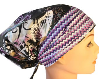 Scrub Hat Cap Chemo Bad Hair Day Hat  European BOHO Banded Pixie Tie Back Lilac Grey Butterflies Chevron Band  2nd Item Ships FREE