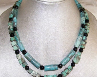 Vintage Lot of Two Chinese Natural Turquoise Hand Carved Bead Necklaces