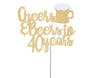 Cheers & Beers Cake Topper, 30th Birthday Cake Topper, Birthday Cake Topper, Cheers to 30, 40, 50, 60 Years, Glitter Cake Topper