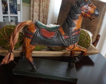 Vintage, Art Deco Craved Wood Horse