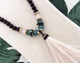 cream horsehair tassel necklace