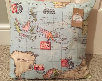 World map printed cushion