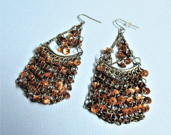 Flapper Style Chandelier Earrings Bohemian Style Evening Wear Chainmaille and Sequins Gold Tone Vintage Pierced Dangle Drop Bohemian Gift