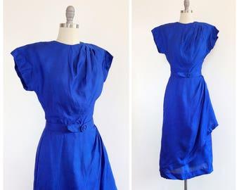 50s Cobalt Blue Silk Party Dress / 1950s Vintage Lace Hourglass Wiggle Dress / Medium / Size 8
