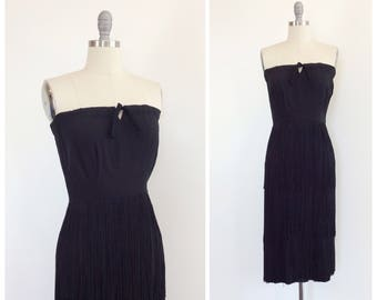 40s Black Strapless Fringe Dress / 1940s Vintage LBD Party Hourglass Dress / Medium / Size 6