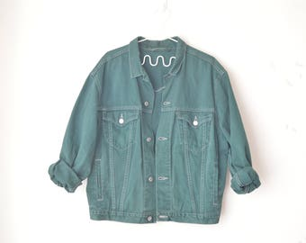 Levi's hunter green oversized 80s trucker jacket // M-L