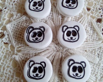 6 black and white panda buttons, small buttons, handmade buttons, unique buttons, sewing, knitting, scrapbooking, card making, animal button