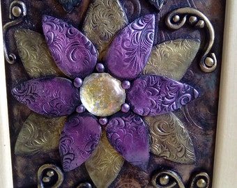 Polymer clay flower picture in frame, unique clay picture, handmade gift, purple gold flower, home decor, framed wall art,