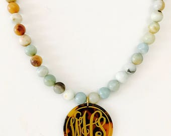Natural Stone Beaded Necklace with Tortoise Shell Monogrammed Disc